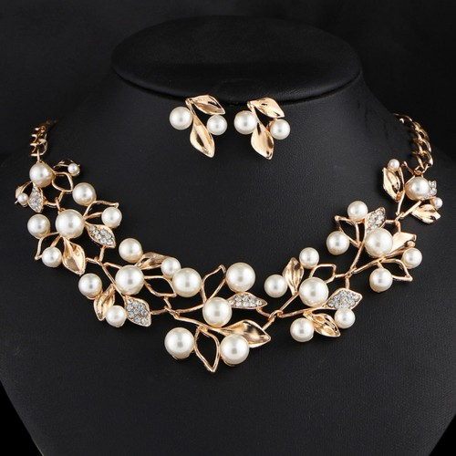 Arihant White & Gold-Toned Gold-Plated Pearl-S...