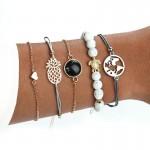 Arihant Trendy Heart Globe Pineapple & Turtle Stylish Sparkling Bracelet For Women/Girls (Pack of 5) 49003