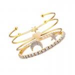Arihant Scintillating American Diamond Star & Moon Design Gold Plated Bracelet For Women/Girls (Pack of 4) 49006