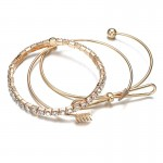 Arihant Ravishing American Diamond Note Arrow Design Gold Plated Cuff Bracelet For Women/Girls (Pack of 3) 49009