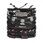 Arihant Combo of 5 Black Contemporary Bracelets 49019