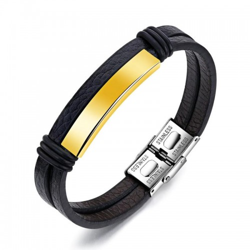 Arihant Stainless Steel Gold Leather Wrist Charm Bracelet For Men