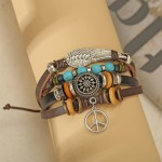 Arihant Bangles Beads Multi Layers Leather Rope Bracelet for Men