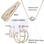 Arihant Stunning Pearl Gold Plated Earrings with Hair Clip and Necklace for Women/Girls 49531