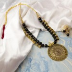 Arihant Black Copper Plated Pearl Necklace Set