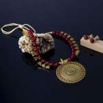 Arihant Magenta Copper Plated Pearl Necklace Set 44002
