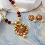 Arihant Magenta GP Kundan studded Pearl Necklace Set