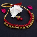 Arihant Gold-Toned GP Red Pearl Necklace Set