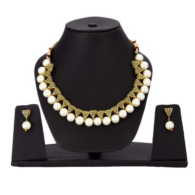 Arihant Gold-Toned GP White Pearl Necklace Set