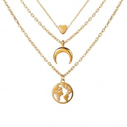 Arihant Gold Plated Trending Globe Inspired Layered Necklace Set (CT-NCK-44161) 44161