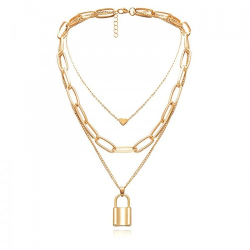 Arihant Gold Plated Trending Lock Inspired Layered Necklace Set