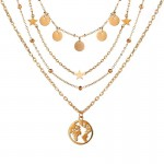 Arihant Gold Plated Trending Globe Inspired Layered Necklace Set (CT-NCK-44164) 44164