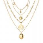 Arihant Gracious Heart Design Gold Plated Multi Layers Chain Necklace For Women/Girls 44174