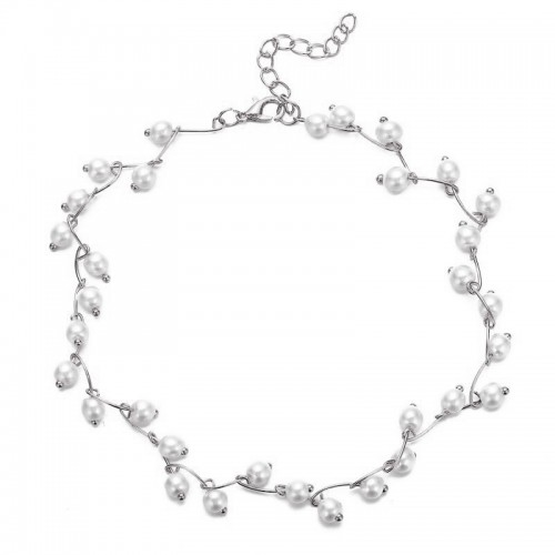Arihant Pearl Single Layer Silver Plated Necklace ...