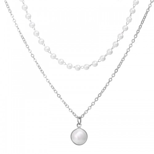 Arihant Pearl Silver Plated Double Layer Necklace ...