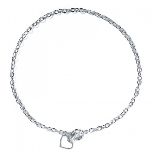 Arihant Heart Silver Plated Single Chain Necklace ...