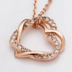 Arihant Delicate American Diamond Heart Inspired Rose Gold Splendid Pendant For Women/Girls 48002