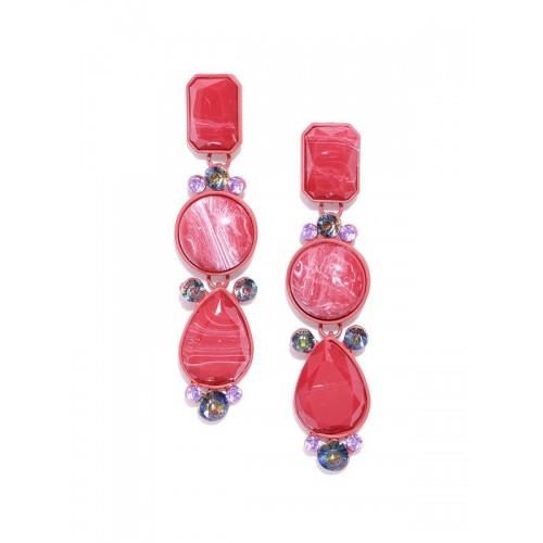 Arihant Red Handcrafted Geometric Drop Earrings