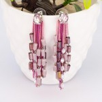 Arihant Pink And Purple Silver Plated Handcrafted Contemporary Tassel Earrings