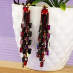 Arihant Red And Black Handcrafted Contemporary Tassel Earrings