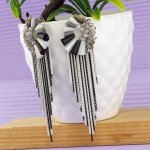 Arihant Grey And Black Silver Plated Handcrafted Tassel Earrings