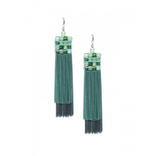 Green Silver-Plated Handcrafted Contemporary Drop ...