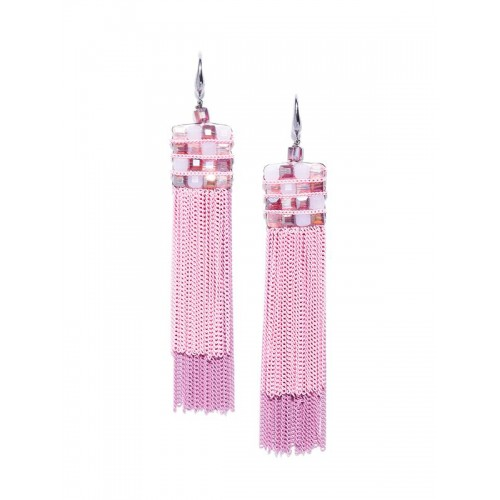Pink Silver-Plated Handcrafted Drop Earrings