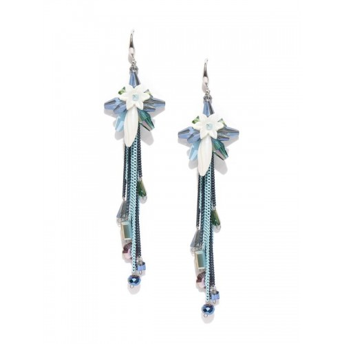 Blue & White Silver-Plated Handcrafted Drop Ea...