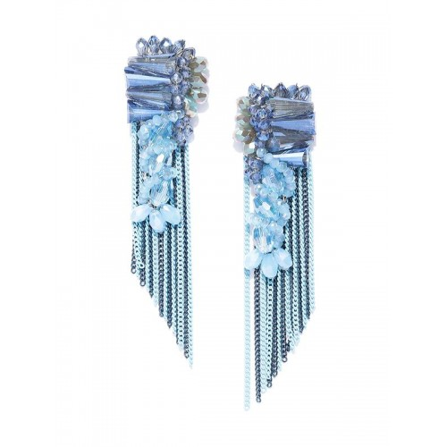 Blue Silver-Plated Handcrafted Drop Earrings