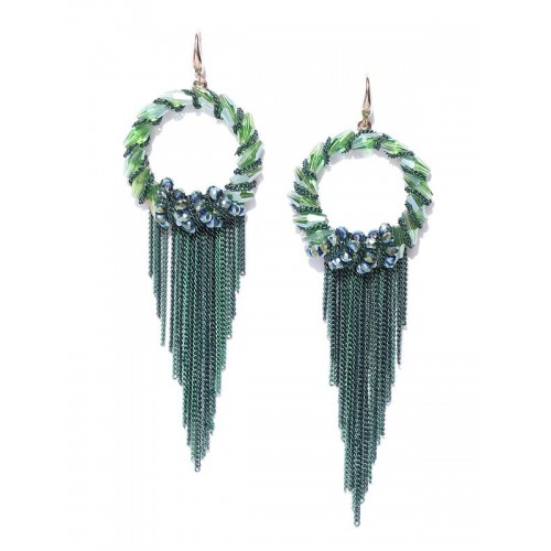 Green Gold-Plated Handcrafted Contemporary Drop Ea...