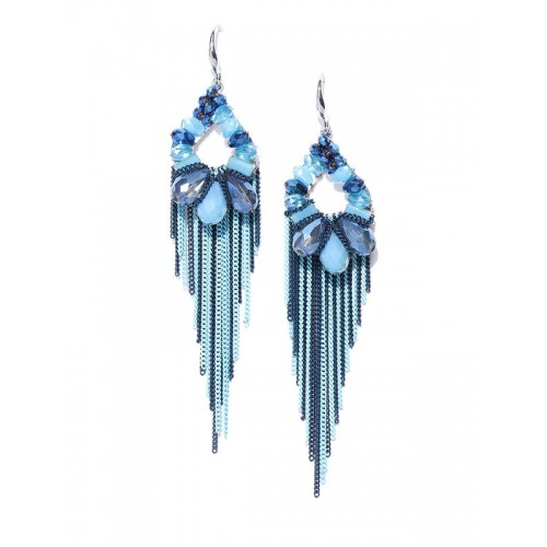Blue Silver-Plated Beaded Tasselled Handcrafted Dr...