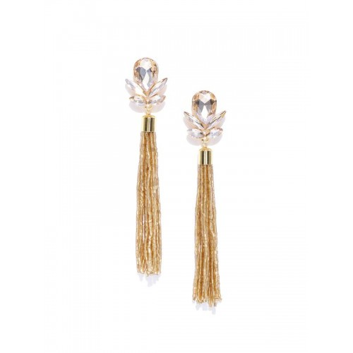 Gold-Toned Handcrafted Contemporary Drop Earrings