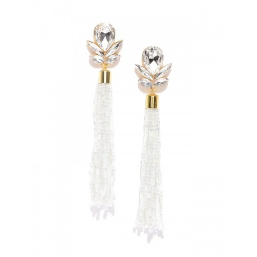 White Gold-Plated Contemporary Handcrafted Drop Ea...