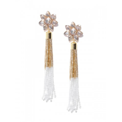 White Gold-Plated Handcrafted Tasselled Floral Dro...