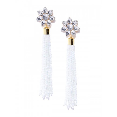 White Gold-Plated Stone-Studded Handcrafted Tassel...