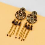 Arihant Black Antique Handcrafted Circular Drop Earrings