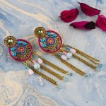 Arihant Pink And Blue Antique Beaded Handcrafted Circular Drop Earrings