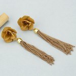 Arihant Beige Handcrafted Tasseled Floral Drop Earrings