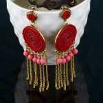 Arihant Red Handcrafted Circular Drop Earrings