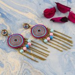 Arihant Pink And Blue Beaded Handcrafted Circular Drop Earrings
