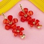 Arihant Red Handcrafted Floral Drop Earrings