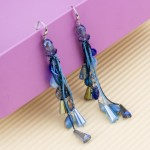Arihant Blue Silver Plated Beaded And Tasselled Handcrafted Contemporary Drop Earrings