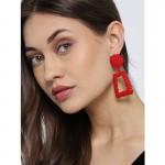 Arihant Black Copper-Plated Geometrical Drop Earrings