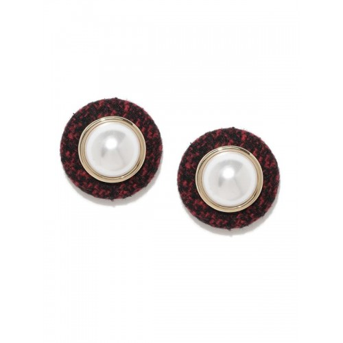 Gold Plated Red Round Earrings