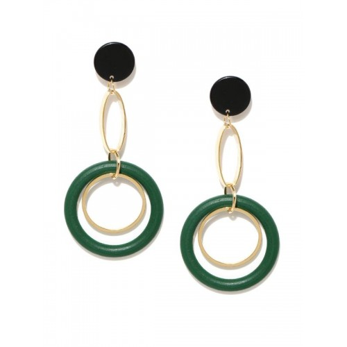 Gold Plated Green Geometrical Drop Earrings