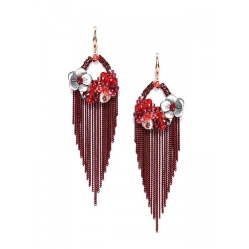 Gold Plated Contemporary Red Chain Tassel Earrings