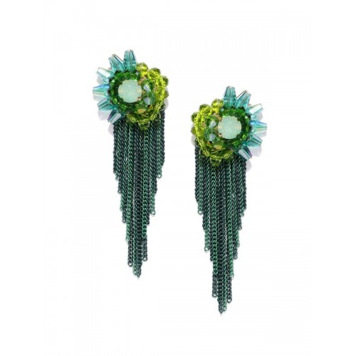 Gold Plated Contemporary Green Chain Tassel Earrin...