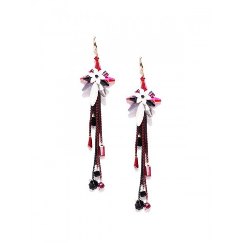 Gold Plated Contemporary Red Floral Chain Tassel E...