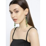 Gold Plated Contemporary Green Chain Tassel Earrings