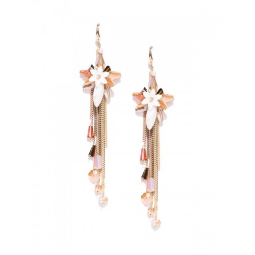 Gold Plated Contemporary Peach Floral Chain Tassel...